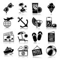 Summer vacations icons with reflection set Royalty Free Stock Photo
