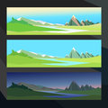 Summer in the valley of a mountain river in different time - morning, afternoon, night. Vector background illustration