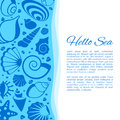 Summer vector background with seashell frame. Seaside holiday card decorated by cockleshells Royalty Free Stock Photo