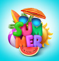 Summer vector banner design with colorful text with elements