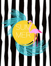 Summer vector card. Flamingo and palm leaves. Illustration background.