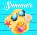 Summer vector concept design. Summer text with sunglasses, daisy flower and orange juice in sand heap with blue wooden texture Royalty Free Stock Photo