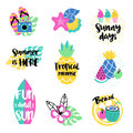 Hello summer with a pineapple. Hand written unique lettering