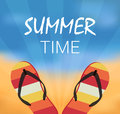Summer vector illustration with flip flops Stock Photography