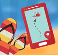 Summer vector illustration with mobile gps navigation and flip flops Royalty Free Stock Images