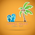 Summer vector illustration of palm and flip flop Stock Photography
