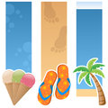 Summer vertical banners a collection of three summertime with ice cream cones colourful flip flops and a palm tree on sand and Stock Photo