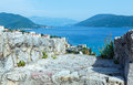 Summer view on bay of kotor from forte mare castle wall herceg novi montenegro Royalty Free Stock Photography