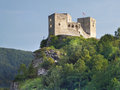Summer view fortification walls towers famous strecno castle massive rock formation late evening sundown strecno castle ruin Stock Images