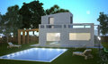 Summer villa nigth modern house with swimming pool in night vision Royalty Free Stock Images