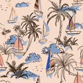 Summer Vintage Beautiful seamless pattern island with boat and w