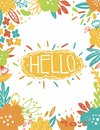 Summer Vintage Floral Greeting Card with garden flowers. Abstract border postcard. Text- Hello. Romantic style.