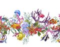 Summer vintage watercolor sea life seamless border with seaweed starfish coral algae jellyfish and fish underwater Royalty Free Stock Image