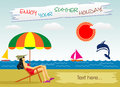 Summer vocation on the seaside this image has vector editable copy Royalty Free Stock Images