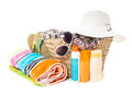 Summer voyage concept accessories for beach vocations isolated on white Royalty Free Stock Photo