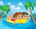 Summer water activity theme eps vector illustration Stock Photography
