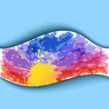 Summer watercolor background. Sunset Stock Photography