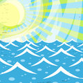 Summer waves a stylized illustration with the ocean waving and a bright yellow sun behind it Royalty Free Stock Photography