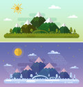 Summer and winter landscapes flat design nature illustration with sun hills mountains moon clouds snowfall forest day Royalty Free Stock Photography