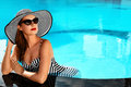 Summer Woman Beauty, Fashion. Healthy Woman In Swimming Pool. Re Royalty Free Stock Photo