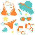 Summer woman fashion set Royalty Free Stock Images