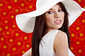 Summer woman over red flowers Royalty Free Stock Photos