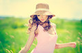Summer woman portrait beautiful happy in hat on meadow Stock Images