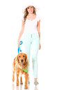 Summer woman walking her dog Royalty Free Stock Photography