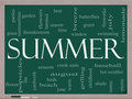 Summer Word Cloud Concept on a Blackboard Stock Photos