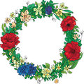 Summer wreath illustration of flowers Royalty Free Stock Photo
