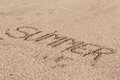 Summer written in soft wet sand on a beach, Dubai-1 September 2017