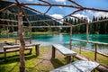 Summerhouse near mountain lake Royalty Free Stock Photo