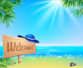 Summerl seaside view poster Royalty Free Stock Photo