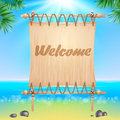Summerl seaside view poster. Vector background. Royalty Free Stock Photo