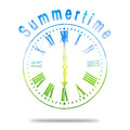 Summertime abstract clock with summer colors grunge face in blue yellow and green under the word hovering over a shadow concepts Stock Image