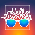 Summertime background with sunglasses and text