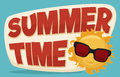 Summertime Banner with Cool Sun Wearing Sunglasses, Vector Illustration Royalty Free Stock Photo