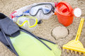 Summertime beach accessories on sand concept of Royalty Free Stock Photo