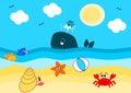 Summertime on the beach cartoon illustration