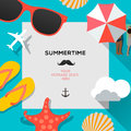 Summertime beach traveling template with summer accessories vector eps illustration Stock Photography