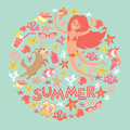 Summertime card. Circle cartoon design with summer icons, girl with a dog and text