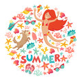 Summertime card. Circle cartoon design  with summer icons, girl with a dog and text. Royalty Free Stock Photo