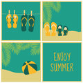 Summertime cards collection a set of four summer greeting Royalty Free Stock Photography