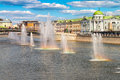 Summertime cityscape in the capital of Russia Moscow. Fountains in river Moscow Royalty Free Stock Photo