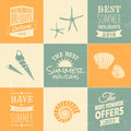 Summertime design collection a set of summer typographic designs and icons in blue beige and yellow Stock Photography