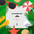 Summertime Holiday and Summer Camp poster, vector illustration. Royalty Free Stock Photo