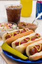 Summertime hotdogs grilled with summer time sides on a picknic table Royalty Free Stock Image