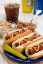 Summertime hotdogs grilled with summer time sides on a picknic table Royalty Free Stock Images