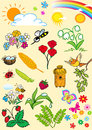 Summertime the illustration shows a set of cartoon cliparts symbolizing the summer season illustration done on separate layers Royalty Free Stock Images