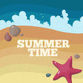 Summertime poster with text starfish stones sand and waves Royalty Free Stock Images